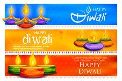 Diya brûlant sur le fond heureux de vacances de Diwali pour le festival léger de l'Inde Image libre de droits