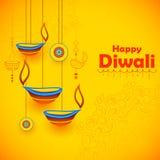 Diya brûlant sur le fond heureux de vacances de Diwali pour le festival léger de l'Inde illustration stock