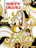 Diya brûlant sur le fond heureux de griffonnage de vacances de Diwali pour le festival léger de l'Inde Photographie stock libre de droits