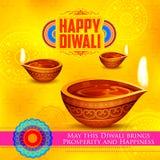 Diya brûlant sur le fond heureux de vacances de Diwali pour le festival léger de l'Inde Photos libres de droits