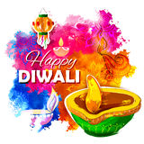 Diya bruciante dell'acquerello sul fondo felice di festa di Diwali per il festival leggero dell'India Fotografia Stock Libera da Diritti