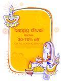 Diya bruciante di signora sul fondo felice della pubblicità di promozione di vendita di festa di Diwal illustrazione di stock