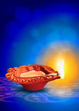 Diya Clay Lamp Diwali Vector Illustration - Indian Festival Stock Photo