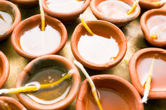 Diya clay lamps filled with oil and a cotton wick Royalty Free Stock Photography