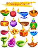 Diya coloful de la acuarela del fondo feliz de Diwali stock de ilustración