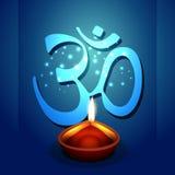 Diya de Diwali com símbolo do OM ilustração do vetor