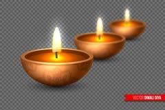 Diya de Diwali - lâmpada de óleo Elementos para o festival de luzes indiano tradicional estilo 3D realístico com efeito do borrão ilustração royalty free