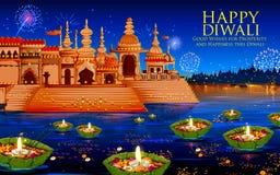 Diya de flottement en rivière sur le fond heureux de vacances de Diwali pour le festival léger de l'Inde Photo stock