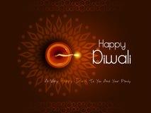 Diya decorato per la celebrazione felice di festa di festival di Diwali del fondo di saluto dell'India royalty illustrazione gratis