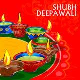 Diya dla Szczęśliwej Diwali dekoraci Obrazy Stock
