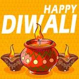 Diya dla Szczęśliwej Diwali dekoraci Fotografia Stock