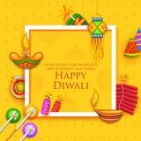 Diya et pétard brûlants sur le fond heureux de vacances de Diwali pour le festival léger de l'Inde Photo stock