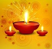 Diya hermoso de la tarjeta religiosa del diwali