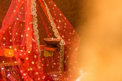 Lamp for Hindu worship stock photos