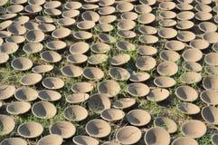 Diya (lampe) sur l'herbe au kumbharwada (endroit de poterie), Ahmedabad Photos stock