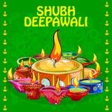 Diya para a decoração feliz de Diwali Imagem de Stock