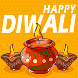 Diya para a decoração feliz de Diwali Fotografia de Stock