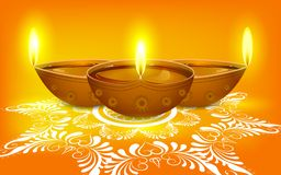 Diya on Rangoli for Diwali Stock Images
