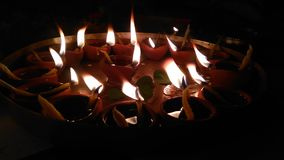 Diya's flames stock photo