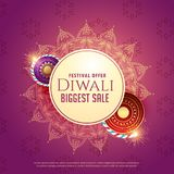 Diya sale background with crackers and mandala decoration. Vector Royalty Free Stock Photography