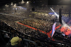 Diyanet. Turkish community living in Belgium gathering in sportpaleis for Religious convention Royalty Free Stock Image