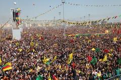 Newroz in Diyarbakir,Turkey. DIYARBAKIR,TURKEY - MARCH 21: Kurds celebrating their traditional feast Newroz that means 'new day' in kurdish on March 21, 2013 in Royalty Free Stock Photo