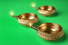 Diyas de Diwali ou lâmpadas da argila Foto de Stock