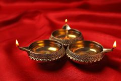 Diyas de Diwali ou lâmpadas da argila Foto de Stock Royalty Free