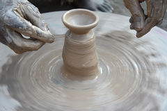 Diyas fail to light up potters` lives. The making of traditional earthen pots is almost an extinct practice in the country. Only a few pockets in the country Stock Photo