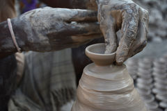 Diyas fail to light up potters` lives. The making of traditional earthen pots is almost an extinct practice in the country. Only a few pockets in the country Royalty Free Stock Photo