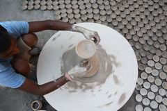 Diyas fail to light up potters` lives. The making of traditional earthen pots is almost an extinct practice in the country. Only a few pockets in the country Stock Photography