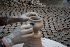 Diyas fail to light up potters` lives. The making of traditional earthen pots is almost an extinct practice in the country. Only a few pockets in the country Royalty Free Stock Photos