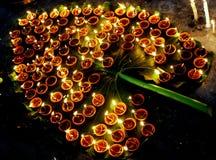 Diyas propicios de Diwali Imágenes de archivo libres de regalías
