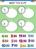 Dizendo o tempo com jogo educacional da face do relógio ilustração royalty free