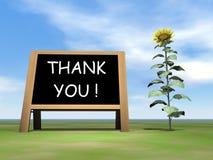 Dizer do quadro-negro do girassol agradece-lhe - 3D rendem Fotos de Stock Royalty Free