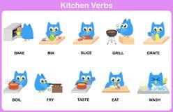 Dizionario dell'immagine di verbi della cucina per i bambini illustrazione vettoriale