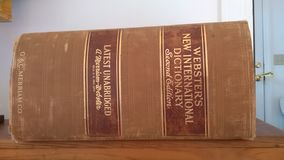"""Dizionario internazionale del ` s di Webster nuovo, libro della seconda edizione, U.S.A. Ð """" Fotografia Stock"""