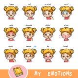 Dizionario visivo del fumetto per i bambini Le emozioni umane royalty illustrazione gratis