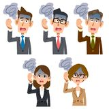 Dizziness of male and female office worker. The 5 images of Dizziness of male and female office worker Stock Photography