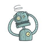 Dizzy Blue Robot Cartoon Outlined-Illustratie met Leuk Android en Zijn Emoties Stock Afbeelding