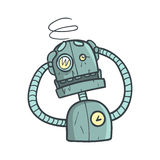 Dizzy Blue Robot Cartoon Outlined illustration med gulliga Android och hans sinnesrörelser Fotografering för Bildbyråer