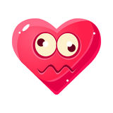 Dizzy Emoji, Pink Heart Emotional Facial Expression Isolated Icon With Love Symbol Emoticon Cartoon Character Stock Photo