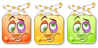 Dizzy Emoticons collection Stock Photo