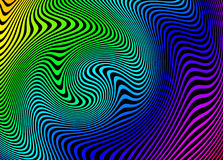 Dizzying swirls vivid rainbow abstract design. Brilliant jazzy retro or psychedelic design Royalty Free Stock Photos