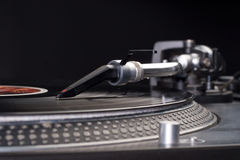 Dj's turntable. Direct drive turntable system closeup view Stock Photography