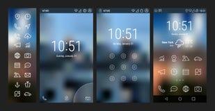Djärv linje UI och UX skärmar Arkivbild