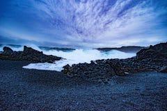 Djúpalónssandur & Dritvík - the Black Lava Pearl Beach. Located at Snaefellsness Peninsula, Iceland stock photography