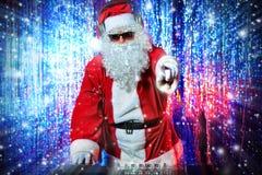 Dj圣诞老人 库存图片