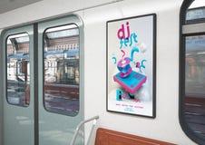 DJ在火车的费斯特海报 库存例证
