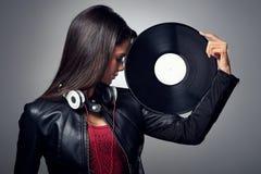 DJ妇女 免版税图库摄影